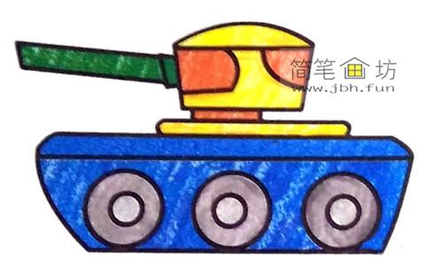3种坦克彩色简笔画图片素材(2)