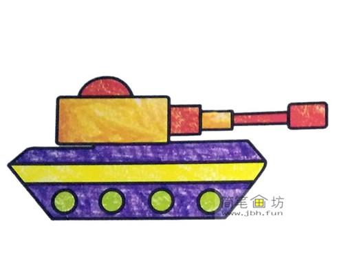 3种坦克彩色简笔画图片素材(6)