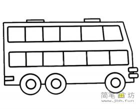 简笔画双层公共汽车