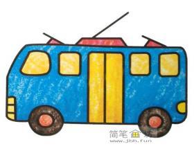 彩色简笔画电车图片