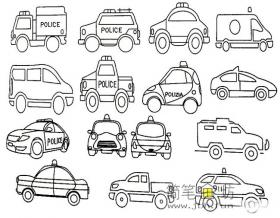 怎样画警车简笔画步骤教程及图片大全