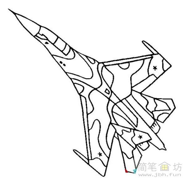 导读:简笔画迷彩战斗机图片素材1幅,简笔画战斗机的画法图片.