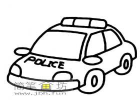 2幅警车简笔画素材