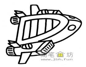 儿童简笔画:太空飞船图片