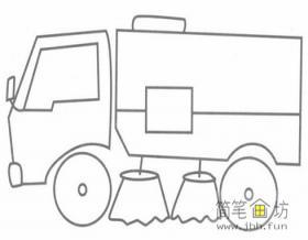 简笔画扫地车的画法步骤教程