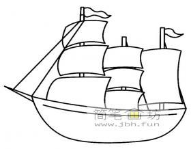 两幅大帆船简笔画图片素材