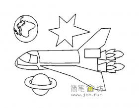 航天飞机简笔画图片3幅