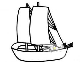 关于帆船的简笔画图片2幅