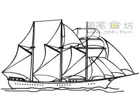 多桅帆船简笔画图片1幅