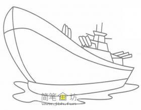 儿童简笔画军舰的绘画步骤