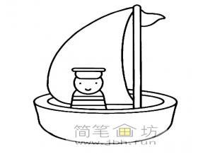 卡通圆形小帆船简笔画图片