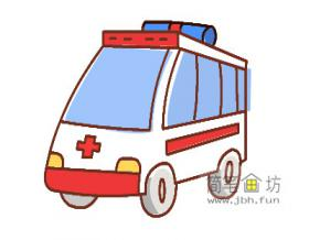宝宝学画画:彩色救护车的简笔画画法步骤详解