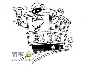 儿童简笔画卡通小火车头图片素材