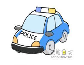 彩色简笔画警车的画法教程