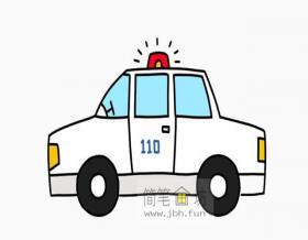 警车简笔画的画法步骤图解