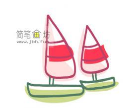 两艘彩色帆船的简笔画绘画步骤