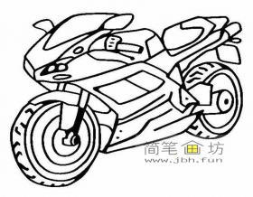 帅气的摩托车的简笔画图片