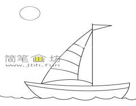 各种各样的海上帆船的简笔画