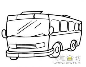简单的公共汽车的简笔画素材