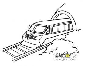 火车刚出隧道简笔画图片