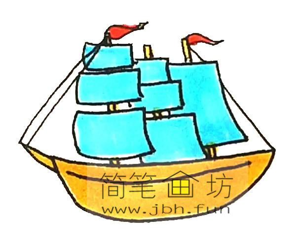 彩色帆船的简笔画教程