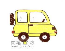 彩色漂亮的小汽车的简笔画图片