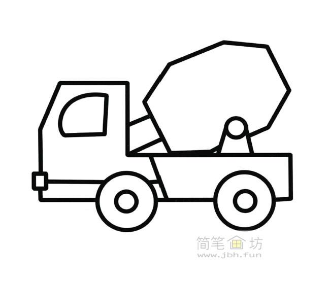 搅拌车简笔画图片【彩色】(1)