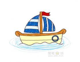 卡通帆船简笔画图片