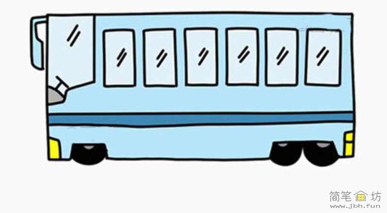 儿童简笔画公交车的画法(1)