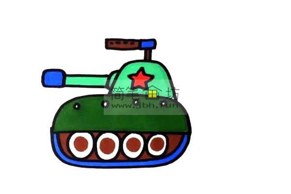 彩色小坦克的儿童简笔画画法(5)
