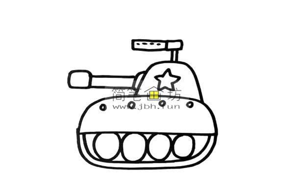 彩色小坦克的儿童简笔画画法(4)