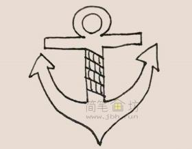 船锚简笔画步骤图解教程【彩色】