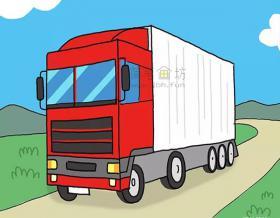 简单7步画出红白色大卡车【彩色】