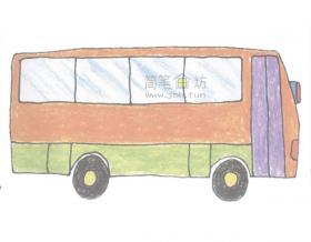 大客车简笔画的画法步骤图教程【彩色】