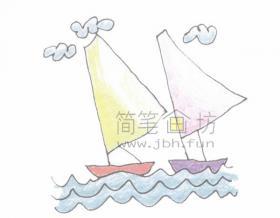 帆船简笔画绘画步骤【彩色】