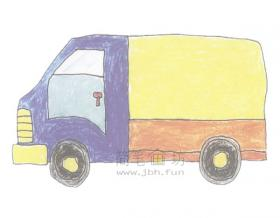 货车简笔画绘画步骤【彩色】