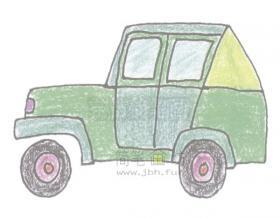 简单几步学会画吉普车【彩色】