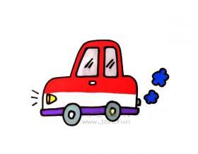 儿童简笔画:小汽车简笔画绘画步骤【彩色】