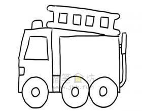 消防车简笔画绘画步骤图解教程