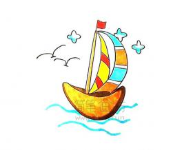简单几步学会画一艘帆船【彩色】