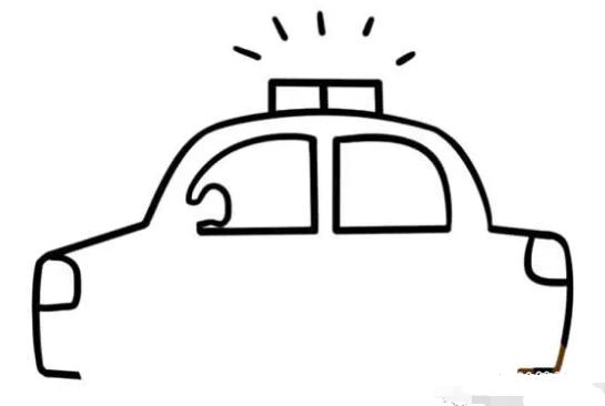 儿童简笔画:警车简笔画画法步骤【彩色】(3)