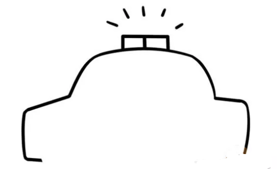 儿童简笔画:警车简笔画画法步骤【彩色】(2)