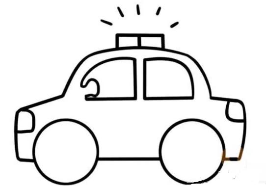 儿童简笔画:警车简笔画画法步骤【彩色】(4)