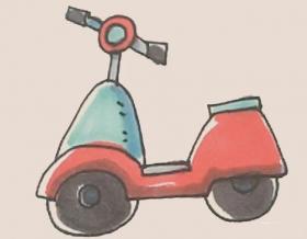 可爱的小摩托简笔画画法【彩色】