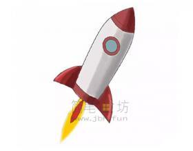 简单六步画出火箭简笔画【彩色】