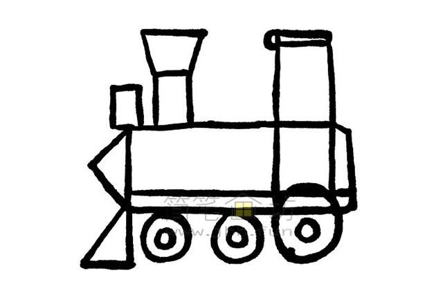 简单7步画出火车简笔画【彩色】(5)