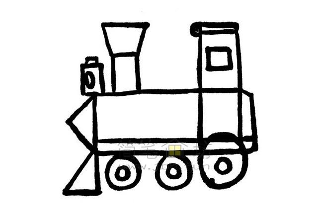 简单7步画出火车简笔画【彩色】(6)