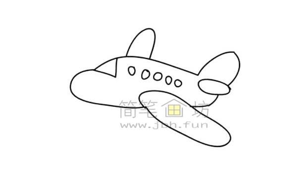 飞机简笔画绘画步骤(3)