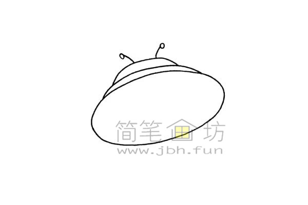 简单易画的飞碟简笔画绘画步骤【彩色】(3)