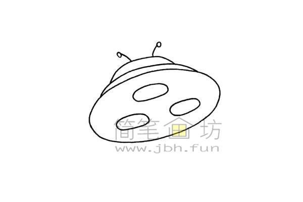 简单易画的飞碟简笔画绘画步骤【彩色】(4)